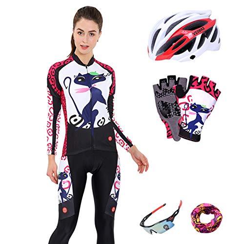 SonMo Damen Radfahren Jersey Set Fahrradbekleidung Set Schutz Radjacke + Fahrradhose Fahrradhosen Radhose Frühling und Herbst mit Sitzpolster Reflektorstreifen Blau XXL