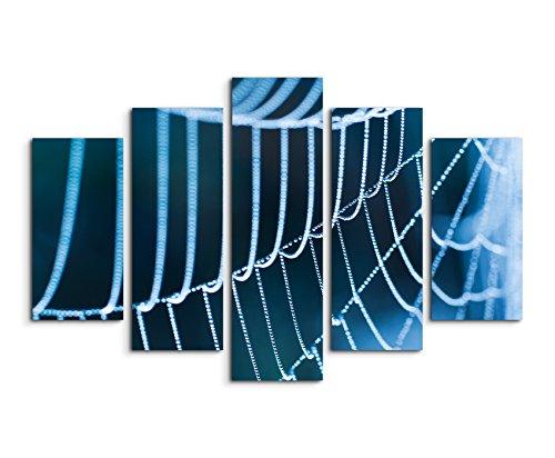Wandbild 5 teilig Breite 150cm x Höhe 100cm Naturfotografie – Spinnweben mit Morgentau auf Leinwand für Wohnzimmer, Büro, Schlafzimmer, Ferienwohnung u.v.m. Gestochen scharf in Top Qualität