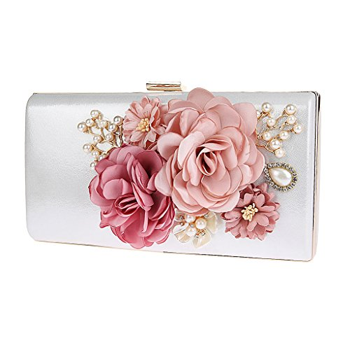 P Prettyia Damen Abend Handtasche Elegant Kettentasche Abendtasche Blumen Strass Clutch Citytasche Umhängetasche Unterarmtasche - Weiß (Satin Handtasche Weiße Blume)