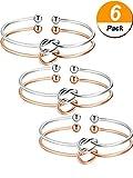 6 Stück Liebe Knoten Armreif Armbänder Einfache Manschetten Brautjungfer Armbänder Stretch Armband für Damen Mädchen, Silber und Rose Gold