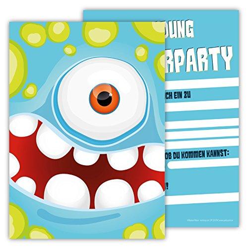 12 Lustige Einladungskarten im Set für Kindergeburtstag Party mit Monster für Jungen Mädchen Kinder Top Geburtstagseinladungen Karten Monsterparty Einladung farbenfroh Alien witzig (Junge Monster High Kostüme)
