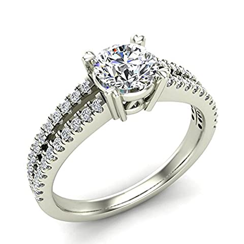 Split Shank Diamond Engagement Ring with Accent Diamonds 1.10 ctw