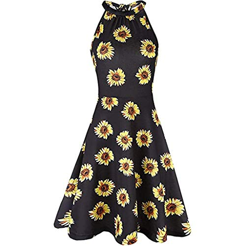 Ziyou Women's Print ärmelloses O-Neck Casual Zipper Minikleid Sommerkleid(Gelb,S) -