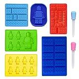 8in1Building Block silicone Mold, 6pcs robot muffa set + 2contagocce per Candy cioccolato gelatina torta dessert decorazione per bambini festa di compleanno