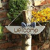 Willkommensschild Personalisierte Sweet Home Willkommensschild Holzschild mediterranen Stil niedliche kleine Krabbe handgemachte Plakette for Outdoor Haustür Veranda Bar Cafe Begrüßungstafel für Haust