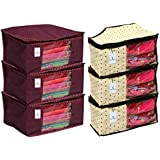 Kuber Industries 3 Piece Non Woven Saree Cover Set, Maroon & 3 Piece Non Woven Blouse Cover Set, Ivory Combo