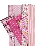 7pcs Stoffpaket 100% Baumwollstoff Patchwork Bedruckt Stoff zum Nähen Stoffreste 50 x 50cm für Kinder DIY Handwerk Scrapbook Quilten Pink