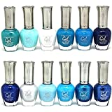 KLEANCOLOR 'Gel Effect' Nail Polish Lacquer Full Size 'SEA BLUE'-12pc Set + Free Body Tattoo