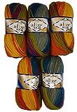 Alize Juego de 5ovillos de lana para hacer punto, con un 40% de lana, en un diseño degradado...