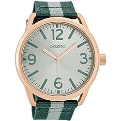 Oozoo Damenuhr mit Textilband 45 MM Silber/Grün/Grau C7052