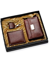 Holboro Special Couple Combo Of Women's Wallet, Men's Wallet & Key Chain - Brown