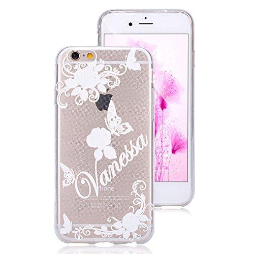 iPhone 6S Hülle,iPhone 6 TPU Gel Case Bumper,Ekakashop Bunte Transparent Comic Rosa Pfirsichblüte Muster Crystal Klar Flexible Case Silikon Defender Protective Schutzhülle Durchsichtig mit Niedliche C Weiß Rose Schmetterling