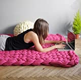 Bluelover Wx-685 Warme Winter Luxus Handarbeit Gehäkelte Bett Gestrickte Sofadecke Decke Warme Dicke Gewindedecke Gestrickte Quilt Heimtextilien Geschenk - 100 cm X 120 cm - Rose