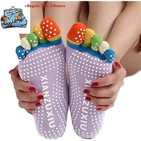 Malloom® mujeres 5-dedo del pie colorido calcetines deportivos, Gimnasio Yoga antideslizante masaje calcetines del dedo del pie agarre completo