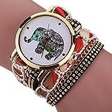 Las mujeres Flyfox® especial de diamantes de imitación de elefante de la pulsera de cuarzo reloj de pulsera