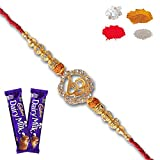 #4: Maalpani Rakhis -Religious diamond Om Divine Rakhi set With Chocolate