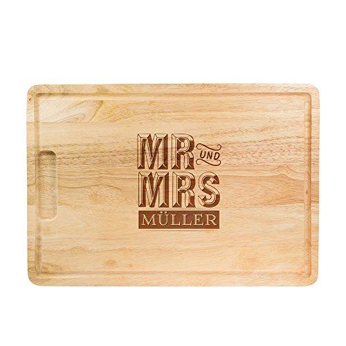 Schneidebrett aus Holz mit Gravur zur Hochzeit – Mr und Mrs – Personalisiert mit [Namen] – Küchenbrett rechteckig – Holzbrett – Schneidbrett - Brotzeitbrett als Hochzeitsgeschenk