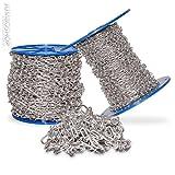 Seilwerk STANKE 150m 1,4mm Knotenkette Dekokette Zierkette Kette Deko -- DIN Stahl VERZINKT Gliederkette Lampenkette Kette Deko Garten