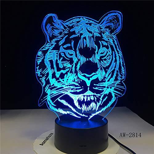 WangZJ 3d Illusion Led Lampe/bunte Note Nachtlicht / 3d Nachtlichter Für Kinder Kinder Nachtlampe/spielzeug Für Jungen/Tiger Kopf