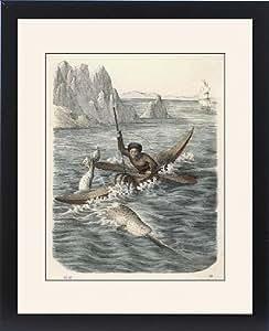 Tableau encadré de chasses au phoque esquimau de narval