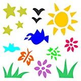 Kinderzimmer Schablone–wiederverwendbar stilisierten Sonne Sterne Blumen Vögel Insekten Wand Schablone–Vorlage, auf Papier Projekte Scrapbook Tagebuch Wände Böden Stoff Möbel Glas Holz usw, L