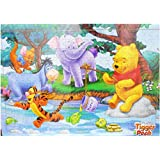 Wishkey Wooden Multi Cartoon Character Tiger & Pooh Educational Fun Blocks Jigsaw Puzzle Game With Wooden Frame For Kids
