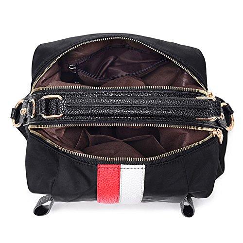 Young & Ming - Materiale Impermeabile Donna Female Nylon Borse a spalla Tote Handbag con Pell Strap Decorazione Fashion Shouder bag borse shopping per lavoro / scuola / travel Rosso