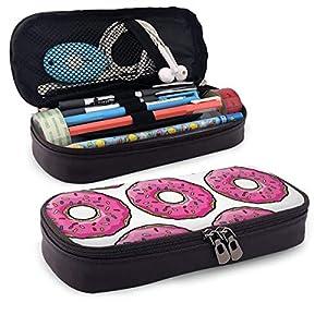 Pink Simpsons Doughnut – Estuche de piel con cremallera para lápices, para la escuela, el trabajo, la oficina, para hombres y mujeres, bolsa de maquillaje de viaje, gran capacidad, resistente al agua