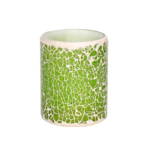 "Battery-Powered Glass Mosaic Real Wax Flameless candle LED Candle with Timer, Home Party Decorations,3"" x 4"" , Green"