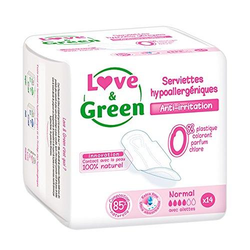 Love & Green Serviettes Normales Hypoallergéniques 0% x14