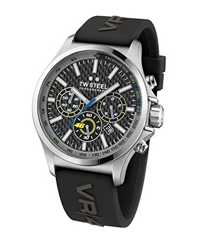 95ca3c86ebed TW Steel Vr46 Men s Quartz Watch with Grey Dial Chronograph Display and  Grey Silicone Strap TW939