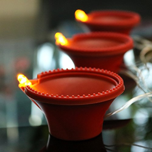 3 Diya LED Tea Lights Decoración Diwali Velas operadas por batería - Ámbar por PK Green