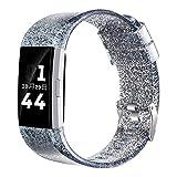 Libra Gemini Para Fitbit Charge 2 Correa,Silicona Suave y Brillante Pulsera Ajustable Banda de Accesorio Correa de Deporte para Fitbit Charge 2 Fitness Wristband (Negro)