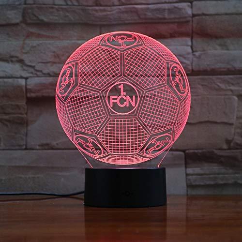 DDBBhome Deutsch 1Fc Nürnberg USB LED 3D Lampe LED Fußball 1Fcn 3D Sensor Nachtlicht Atmosphäre Lampe ALS Schlafzimmer Dekoration 3D-886