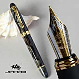 GOLD LEAF Jinhao X450 Fountain pen, Clay Mask color, Fountain Pen 0.7mm Broad Nib 18KGP Golden Trim, Advance Clip design (Multi Brown)