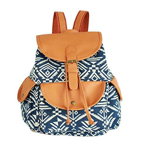Leefrei casual Canvas Damen Herren Rucksack Daypack Backpacks Freizeitrucksack Schulrucksack Schultasche (Elefant Blau) Vintage-Blau