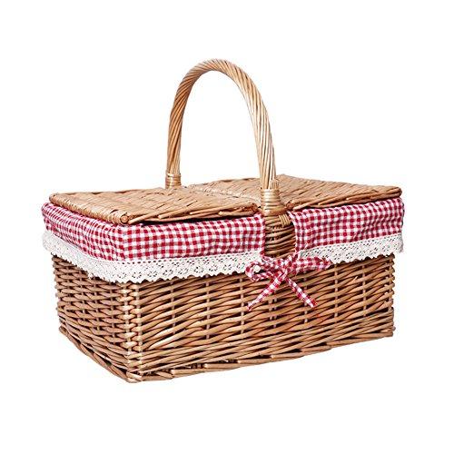 HM&DX Picknickkorb mit deckel 2~3 personen picknickkorb markt mittagessen tote für ausflug wandern reisen festival-events-weiß/rot kariertes Futter 40x30x20cm(16x12x8inch)