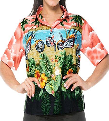 La Leela Damen Soft Likre 4 Tunika und in 1 Hawaii Party Aloha Thema Casuals Urlaub Lounge Geschenk Bluse Passen oben Kurze Hülsenknopf Unten Kleid Hawaiihemd Hell Blau Entspannt Rot