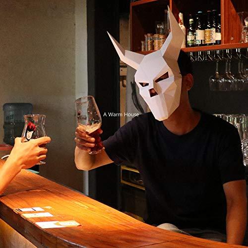DWcamellia Masken für Erwachsene Weiß Halloween Maske DIY 3D Papier Masken Cosplay Terror Teufel Horror Maske Hannya Maskerade Karneval Kreative Hand Maske