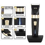 KYG Haarschneidemaschine elektrischer Haarschneider bart trimmer herren Präzisionshaartrimmer mit 8 Aufsatzkämmen für Salon oder zu Hause Schwarz MEHRWEG - 3