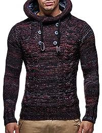 LEIF NELSON Hombres Sudadera con Capucha Jersey de Punto de Manga Larga LN20227 suéter Sudadera