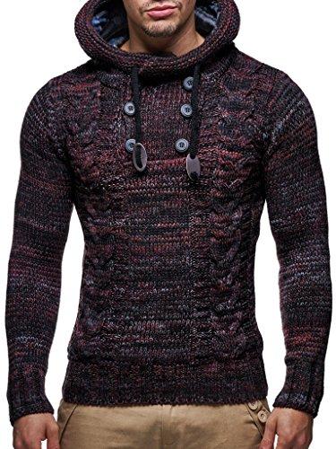LEIF NELSON Herren Pullover Hoodie Kapuzenpullover Strickpullover Longsleeve Sweater Sweatshirt Pulli LN20227 (Small, Rot) (Herren-pullover Weste Rot)