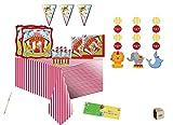 IRPot - Kit N 17 Coordinato Compleanno Circus Party con BANDIERINA Ghirlanda