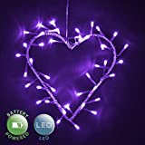Decorative Purple 40 LED's Battery Operated Metal Heart Valentine's Wall Light