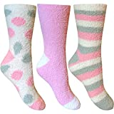 Ladies Fluffy Stripes & Polka Dot Design Co-Zee Thermal Socks (3 Pair Multi Pack) (Pink Cream & Grey Mix)