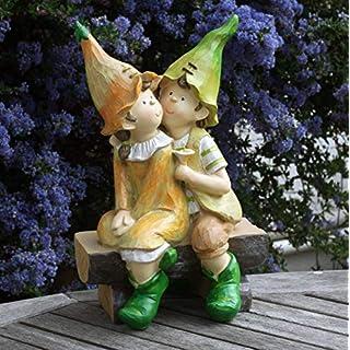 FHFY Garden Celia und Zeder auf Einer Bank, Gartenzwerg, Gartenfee, Troll, Imp