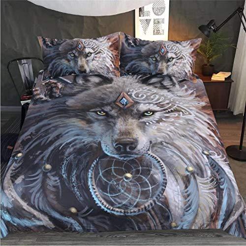gesetzt Neue Bettwäsche Bettbezug und Kopfkissenbezug 3D Gedruckter Wolfskopf in voller Größe dreiteilig-Twin-Set 4tlg ()