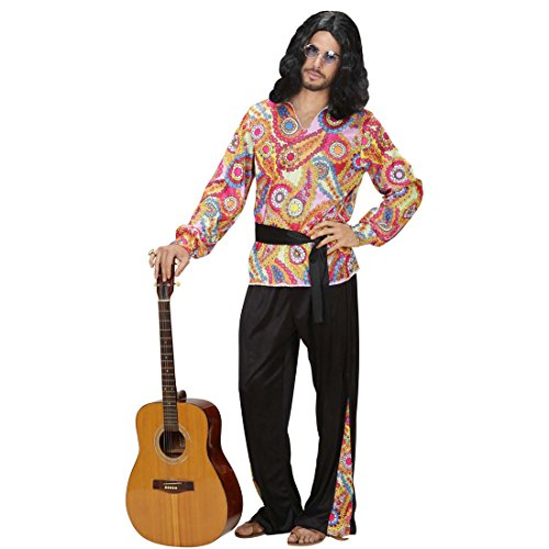 NET TOYS Hippie Outfit Herren 70er Jahre Kostüm L 52 Hippiekostüm Hemd Hose Gürtel Bunte Hippiehose 70s Flower Power Hippiehemd Hippieoutfit Fasching Karnevalskostüm ()