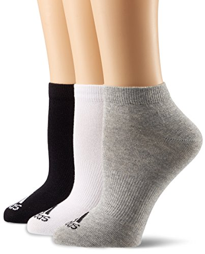 Wolle Womens No-show Socke (adidas Unisex Trainingssocken Performance extrakurze dünne 3 Paar, mehrfarbig (Black/Medium Grey Heather/White), 35-38)