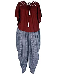 Patrorna Women's Cap Sleeve Empire Top And Dhoti Pant / Salwar Set (Size S-7XL)